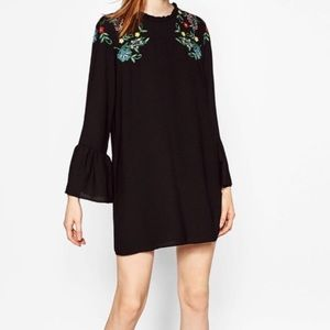 Zara Black Embroidered Floral Dress